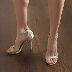 Champagne gold silver glitter strappy heels